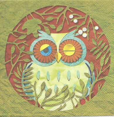 2 Serviettes en papier Hibou Gui Decoupage Paper Napkins Owl Garden