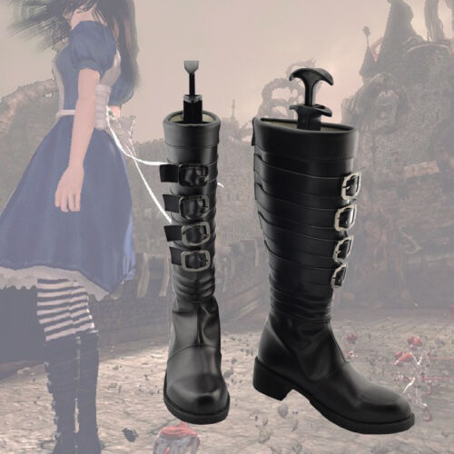 Hot Alice Madness Returns Cosplay Black Boots Shoes