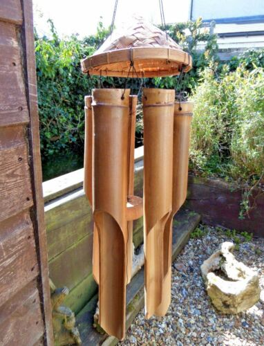 Hand Carved Made Garden Bamboo Padi Hat Windchime Mobile Wind Chime