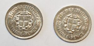 1941-x-2-3-Pence-Great-Britain-Silver-a-Lot-of-2-High-Grade-Value-Coins