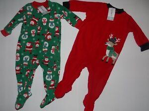 c6daa225c CARTER S 1-PC Christmas Footed Sleeper Fleece Pajamas Lot of 2 Sz 6 ...