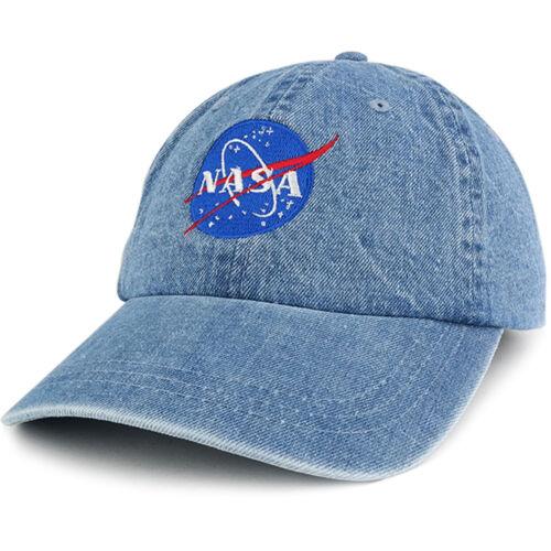 NASA Insignia Low Profile Denim Garment Washed Adjustable Cap