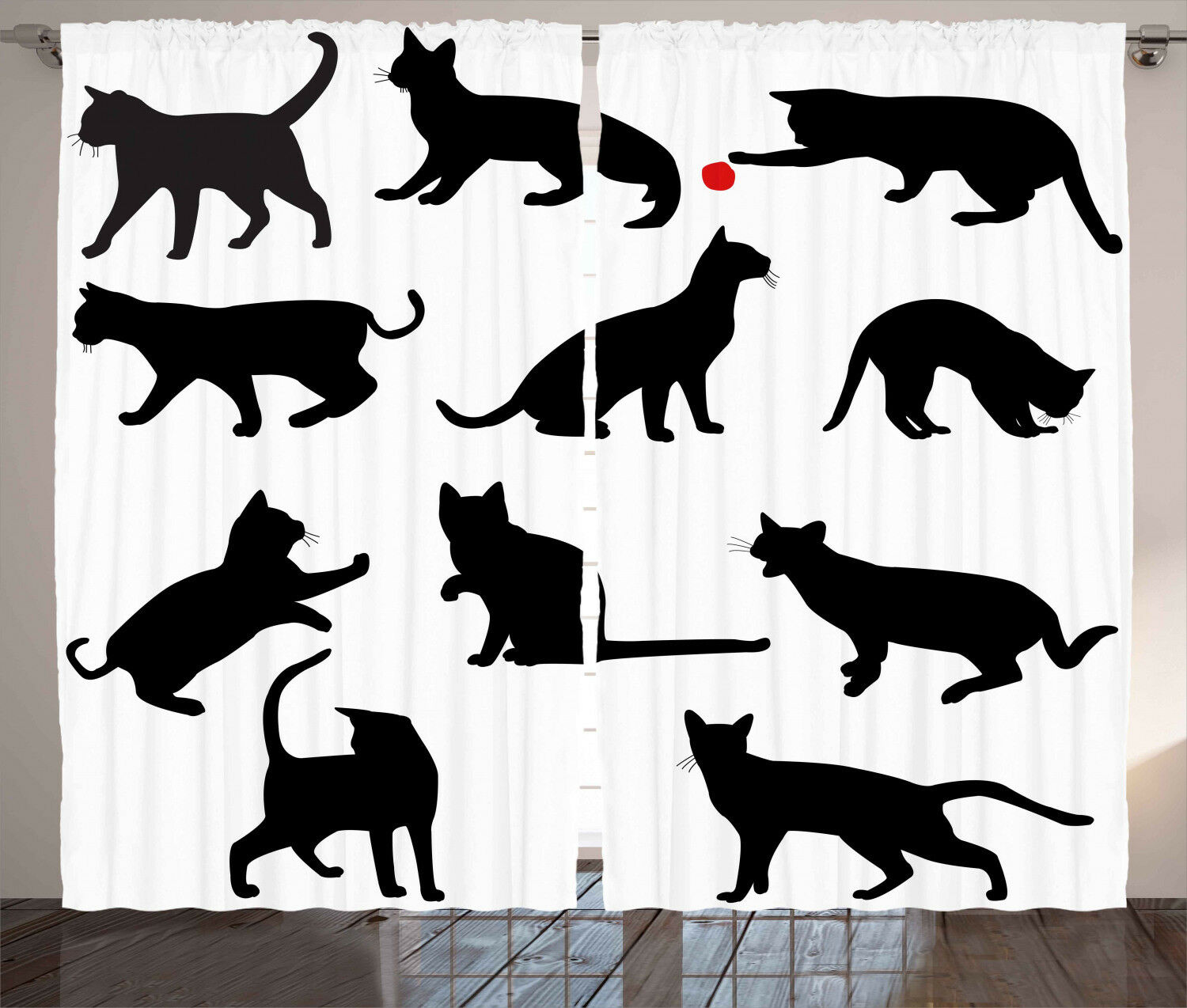 Cat Curtains rosso Ball Animal Pet Kittens Window Drapes 2 Panel Set 108x84 Inches