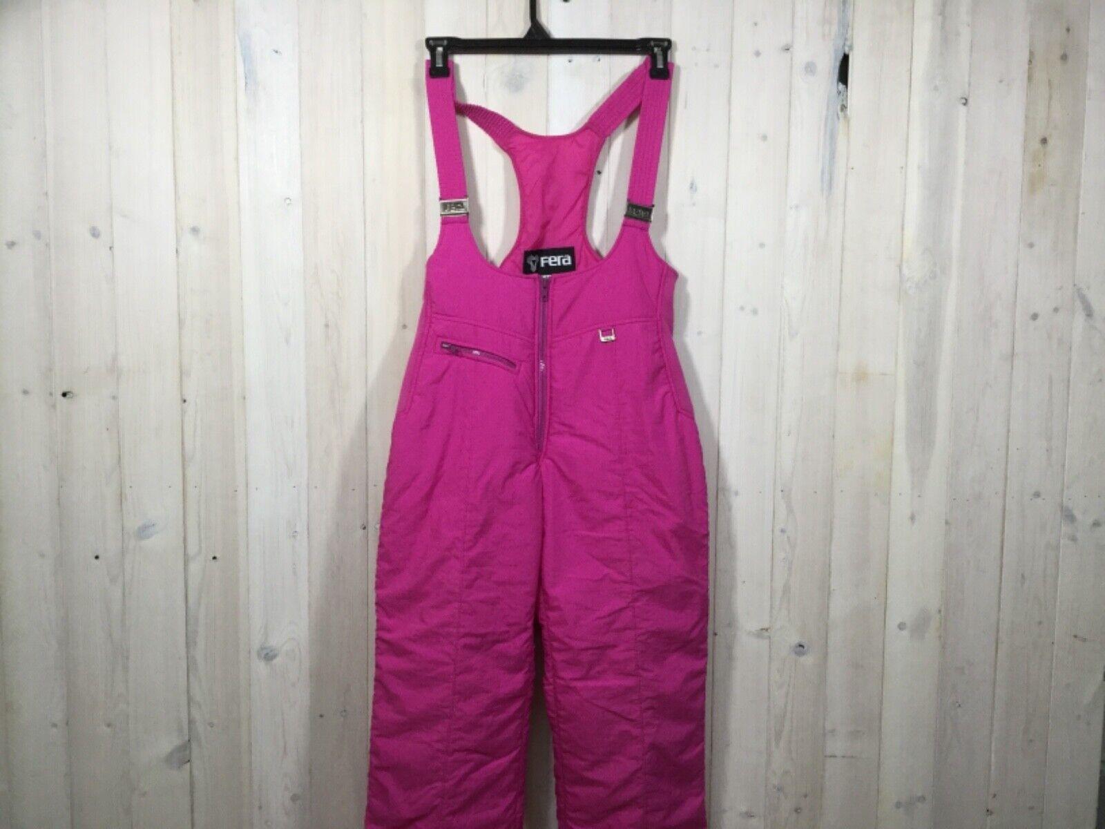 Vintage Retro 80's Fera Skiwear Snow Skiing Bibs Winter Womens Sz 14 L Pink