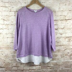 J-Jill-Womens-Love-Linen-Purple-White-3-4-Sleeve-Linen-Top-Size-XL
