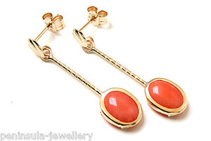 9ct-Gold-Coral-oval-Drop-earrings-Gift-Boxed-Made-in-UK