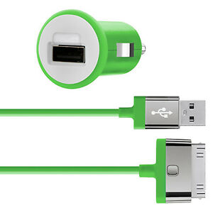 Belkin-mixit-iphone-4S-4-3G-ipad-3-2-1-2-1Amp-10W-rapide-chargeur-voiture-amp-cable-vert