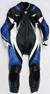 Top-DAINESE-Monza-Prof-Groesse-50-Einteiler-Lederkombi-schwarz-blau-Motorradkombi