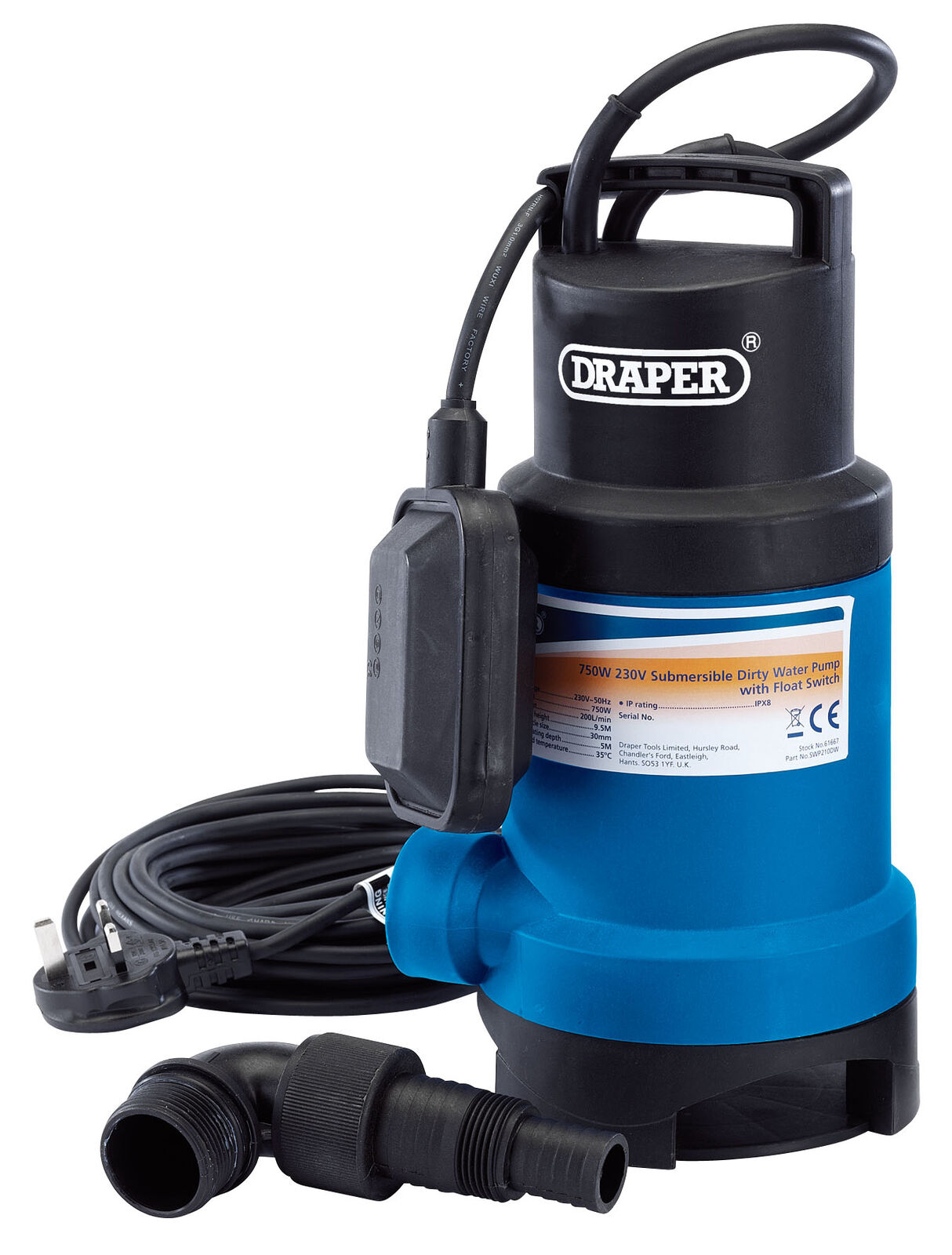 200L/Min Submersible Dirty Water Pump With Float Switch (750W) Draper 61667