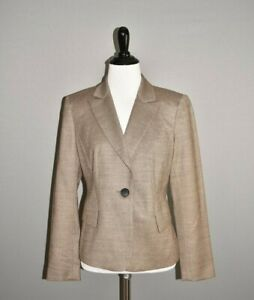 LAFAYETTE-148-NEW-YORK-598-Brown-Virgin-Wool-Structured-Blazer-Jacket-Size-4