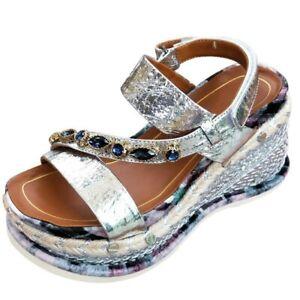 Women Wedge High Heel Rhinestone Fashion Roman Creepers Sandals Espadrilles Hot Ebay