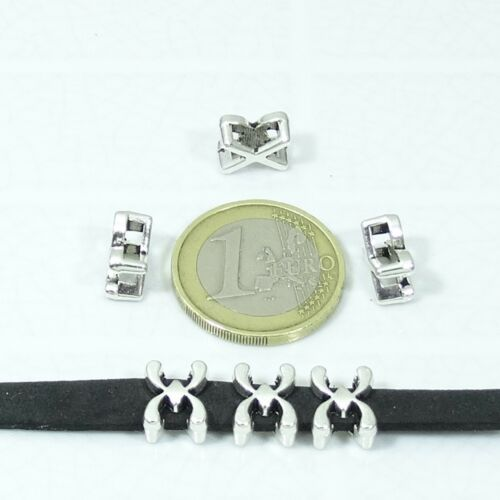 48 Hebillas 10x8mm  T613C  Plata Tibetano Charms Leather Beads δέρμα Couro Leer