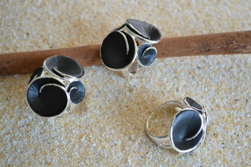 Anillo de acero inoxidable Modern Art Design plata negro anillo de acero inoxidable banda anillo me 368