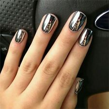 2Pc 6ML Metallic Mirror Effect Metallic Silver Nail Art Varnish Polish&Base Coat