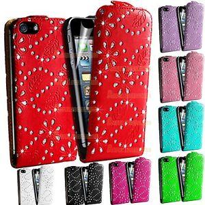 Diamant-Bling-Strass-Clapet-Cuir-PU-Housse-Pochette-pour-Apple-Iphone-4S-4