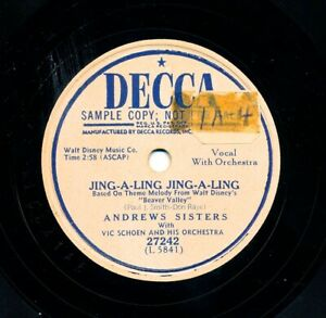 ANDREWS-SISTERS-on-1951-Decca-27242-Promo-Jing-A-Ling-Jing-A-Ling