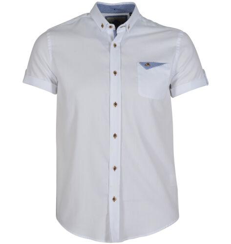NUOVA Linea Uomo Guide London HS1940 Manica Corta Oxford Mini-Check Shirt bianca a contrasto
