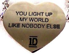"""NEW! 1D Lyric Necklace Fashion Jewelry Chain Necklace """"You Light Up My World..."""""""