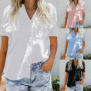 Womens-Loose-Button-Short-Sleeve-Stand-Cotton-Ladies-Casual-Tops-T-Shirt-Blouse