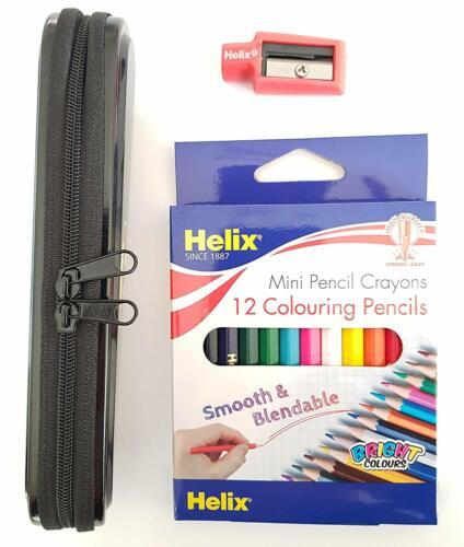 Batman pencil case 12 x helix colour pencils and pencil eraser//sharpener