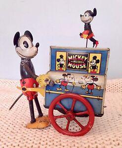 Distler-tin-litho-Mickey-Mouse-Hurdy-Gurdy-organ-grinder-windup-toy