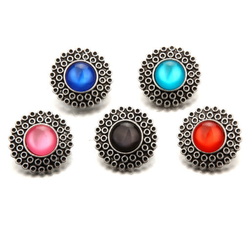 Silver Alloy Round Snaps Buttons Charms Fit 18mm Snap Jewelry