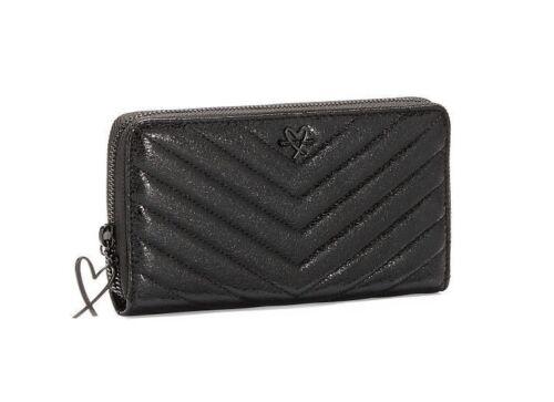 NEW Victoria/'s Secret V-Quilt Metallic Crackle Everything Zip Wallet Black $45