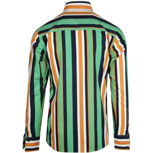 NEW MADCAP RETRO MOD MENS 60s 70s 80s BIG COLLAR Button Down STRIPED SHIRT MC476