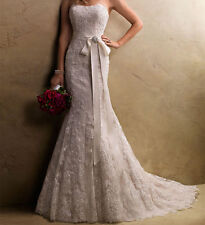 Lace wedding gown any size, custom white ivory USA PLUS or regular 2-4-6-8-10-12