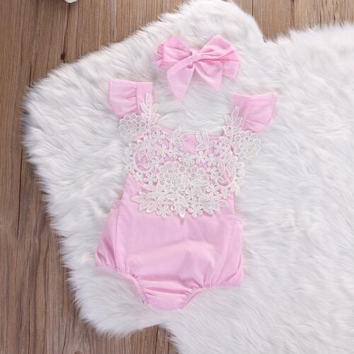 Baby Girls Rompers Clothing Bow Headbands Lace Flowers Summer Infant Outfits New