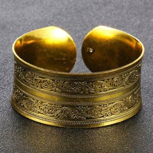 Lady-039-s-Retro-Gold-Color-Flower-Wide-Open-Cuff-Bangle-Bracelet-Gifts-Jewelry