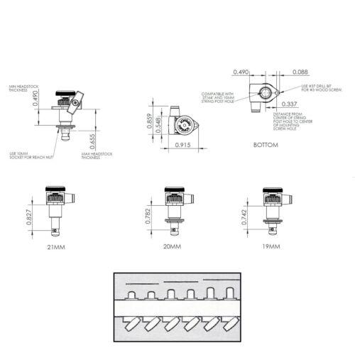 NEW Hipshot 6 inline LEFT-HANDED Open-Gear Grip-Locking STAGGERED Tuners BLACK