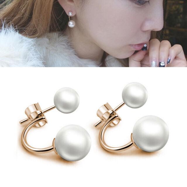 Fashion Lady 925 Silvering Plated Freshwater Pearl Ear Stud Dangle Earrings New