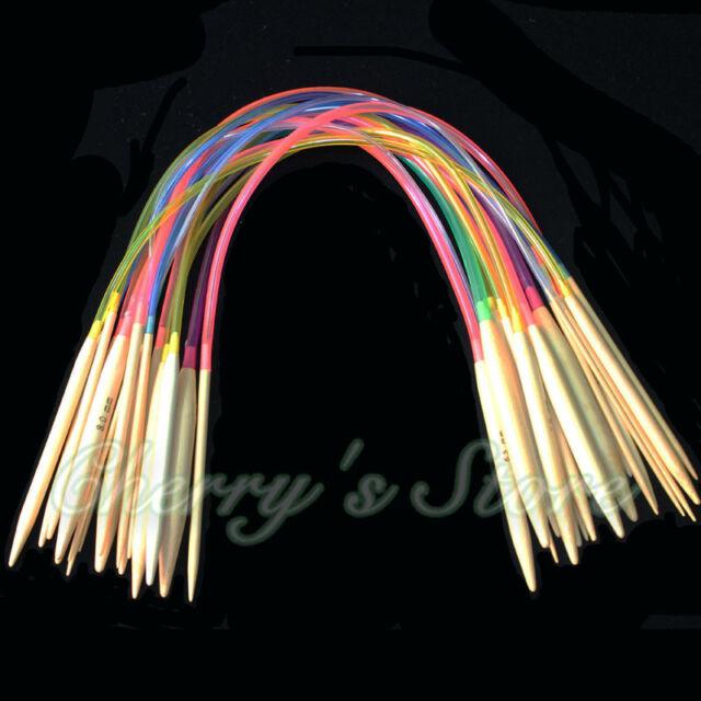 """18pairs 16"""" 40cm Multicolor Tube Circular Bamboo Knitting Needles"""
