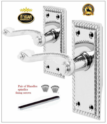 5 Silver Internal Door Handle PACKS GEORGIAN Scroll Lever Latch ROPE Design D27