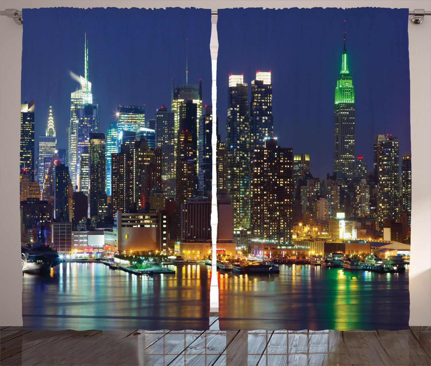 Scenery Curtains NYC Midtown Midtown Midtown Skyline Window Drapes 2 Panel Set 108x84 Inches 517c89