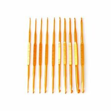 10Pcs Golden Aluminum Double End Crochet Hook Knitting Needle Set Weave Craft