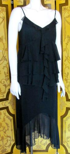 1920s Flapper Style Black Chiffon Drop Waist Dress