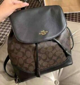 Coach-Elle-Backpack-in-Signature-Canvas-Dark-Brown-Black-1613