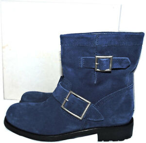 b1cc6088252  995 Jimmy Choo NAVY Blue Biker Youth Short Motorcycle Boots Ankle ...