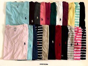 NEW-Polo-Ralph-Lauren-Women-Pony-Short-Sleeve-V-Neck-T-Shirt-Tee