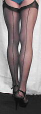 3 Pairs Medium Black Gipsy UltraSheer 10Denier Cuban heel Seamed  Stockings