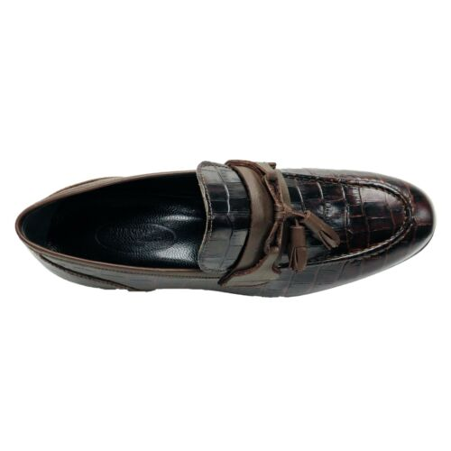 Mens REAL LEATHER Loafers Polished Smart Casual Shoes Slip On Tassel Classy