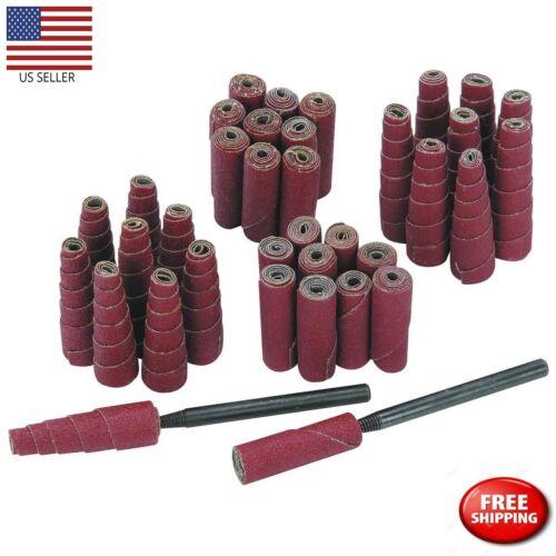 Abrasive Sanding Cartridge Spiral Roll Cone Cylinder Shaped Sander 52 Pc Set