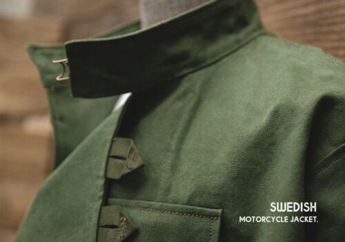 Swedish Motorcycle Jacket Military Army Green WW2 Airborne Paratrooper Cotton