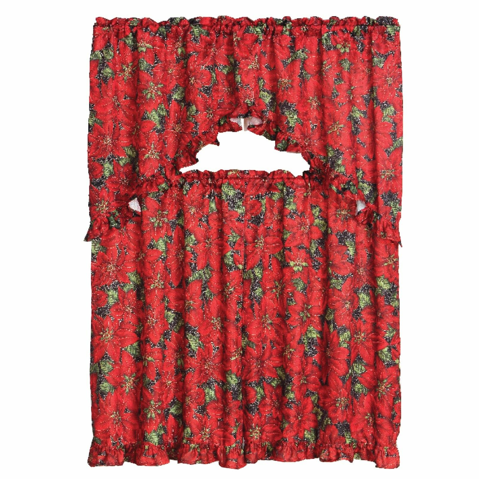 Kitchen Curtains And Valances: 3 Piece Christmas Decorative Kitchen Curtain Set, Ruffled