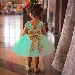 aad367b4c1133 Details about Baby Flower Girls Kids Sequin Princess Party Wedding Formal  Lace Tutu Dress Gown