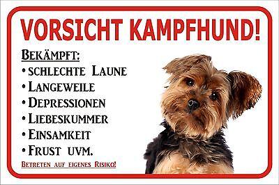 """Sparsam Schild S0440 Vorsicht Yorkshire Terrier """"kampfhund"""" Gr. 15x20 Bis 60x40cm Hund Exquisite (In) Verarbeitung"""