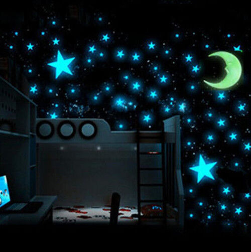 Bedroom Nursery Room Ceiling 100x Glow In The Dark Stars Wall Sticker Kids  Decor | EBay