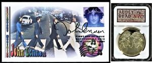 Beatles Abbey Road Album Coin in Presentation Display and John Lennon Blue FDC